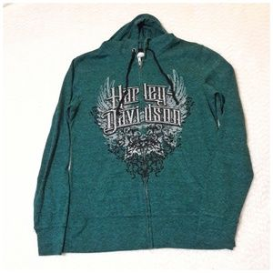 Green zip-up Harley Davidson hoodie